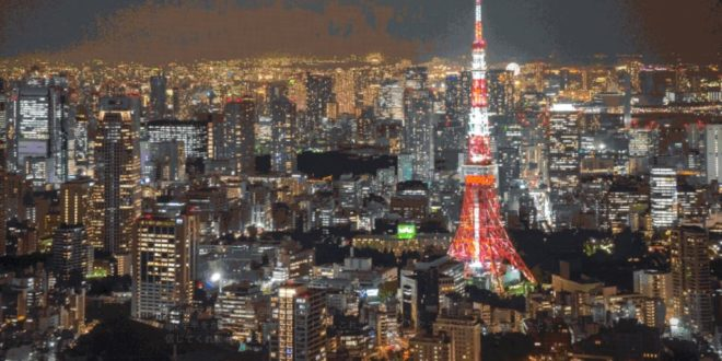A Japanese gamer creates a mosaic panoramic image of Tokyo in Minecraft