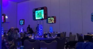 Bar Mitzvah party is decorated with a number of Nintendo switch