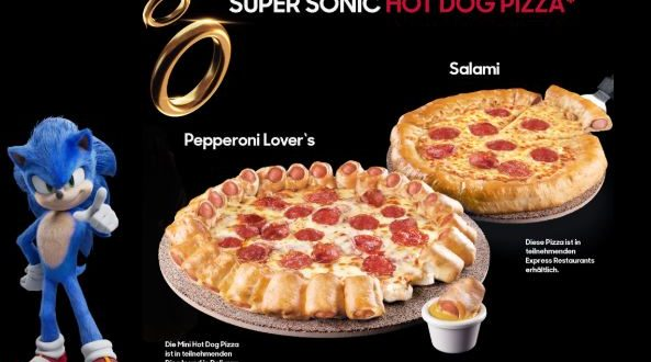 Super Sonic Hot Dog Pizza inspired by Sonic the Hedgehog in Germany