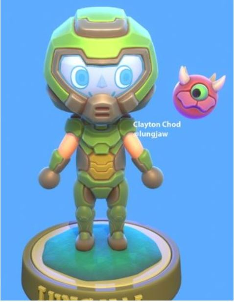 Fan Made Doomguy Costume For Your Villager And A Cacodemon Pal