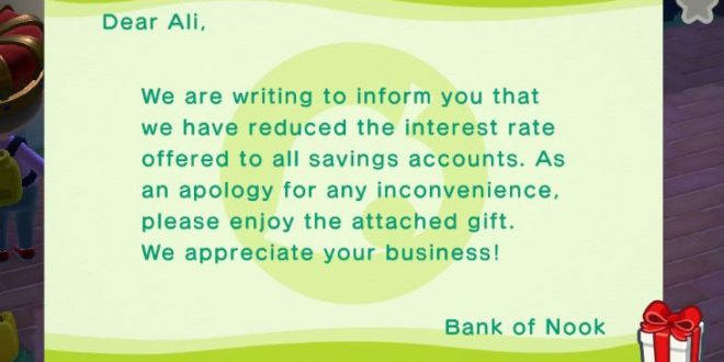 Nintendo reduces the interest rates on all savings accounts in Animal Crossing: New horizons