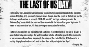 "Naughty Dog renamed the event Outbreak Day to ""The Last of Us day"" due to the pandemic"